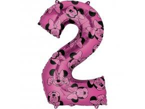 Balónik fóliový narodeninové číslo 2 - Minnie 66 cm
