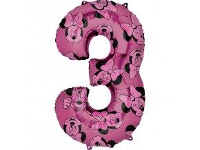 Balónik fóliový narodeninové číslo 3 - Minnie 66 cm