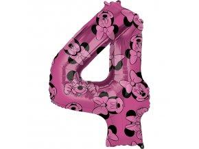 Balónik fóliový narodeninové číslo 4 - Minnie 66 cm