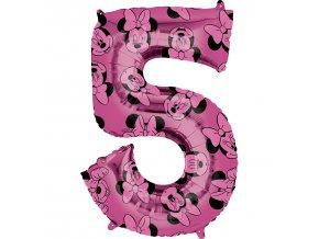 Fóliový balón narodeninové číslo 5 - Minnie 66 cm