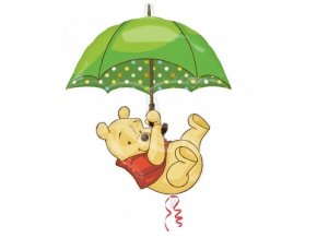 Fóliový balón - Macko Pu s dáždnikom