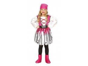 Detský kostým Ružová Pirátka (Veľkosti 10-12 rokov (výška 142-148cm))
