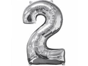 Fóliový balón narodeninové číslo 2 strieborný 66cm