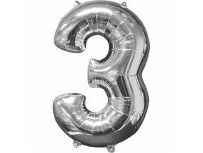 Fóliový balón narodeninové číslo 3 strieborný 66cm