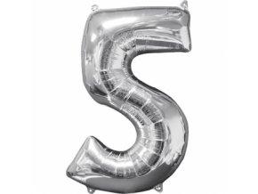 Fóliový balón narodeninové číslo 5 strieborný 66cm