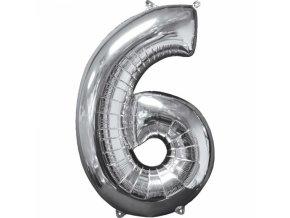 Fóliový balón narodeninové číslo 6 strieborný 66cm