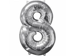 Fóliový balón narodeninové číslo 8 strieborný 66cm