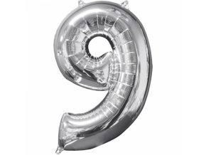 Fóliový balón narodeninové číslo 9 strieborný 66cm