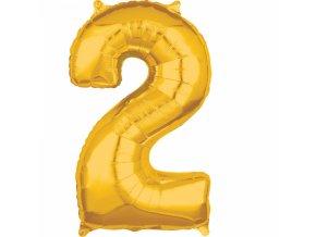 Fóliový balón narodeninové číslo 2 zlatý 66cm