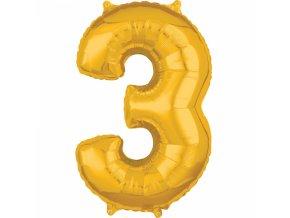 Fóliový balón narodeninové číslo 3 zlatý 66cm