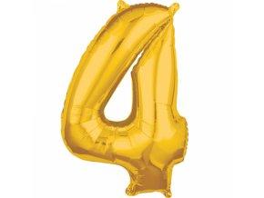 Fóliový balón narodeninové číslo 4 zlatý 66cm