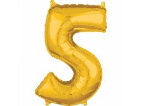 Fóliový balón narodeninové číslo 5 zlatý 66cm