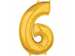 Fóliový balón narodeninové číslo 6 zlatý 66cm
