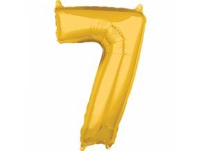 Fóliový balón narodeninové číslo 7 zlatý 66cm