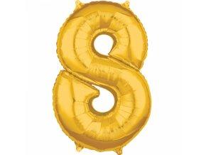 Fóliový balón narodeninové číslo 8 zlatý 66cm