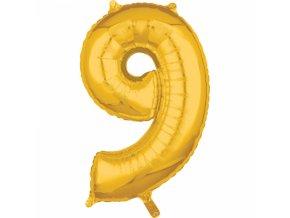 Fóliový balón narodeninové číslo 9 zlatý 66cm