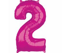 Fóliový balón narodeninové číslo 2 ružový 66cm