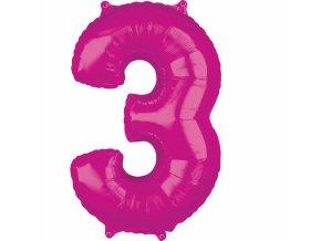 Fóliový balón narodeninové číslo 3 ružový 66cm