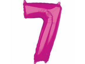 Fóliový balón narodeninové číslo 7 ružový 66cm