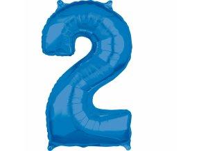 Fóliový balón narodeninové číslo 2 modrý 66cm