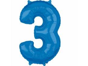 Fóliový balón narodeninové číslo 3 modrý 66cm