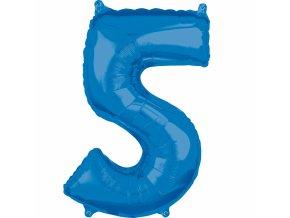 Fóliový balón narodeninové číslo 5 modrý 66cm