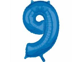 Fóliový balón narodeninové číslo 9 modrý 66cm