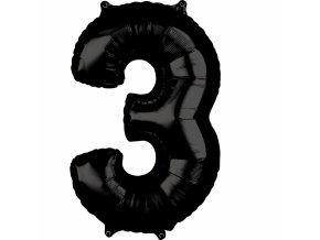 Fóliový balón narodeninové číslo 3 čierny 66cm