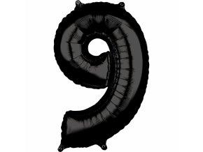 Fóliový balón narodeninové číslo 9 čierny 66cm