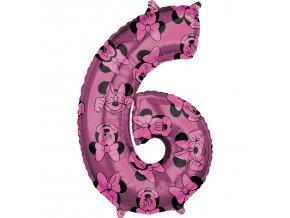 Fóliový balón narodeninové číslo 6 - Minnie 66 cm