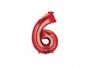 fóliový balónik číslo 6 červený
