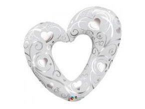 Fóliový balón strieborné srdce