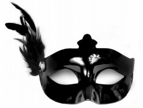 Party maska s pierkom čierna