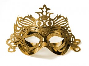 Party maska s ornamentami zlatá