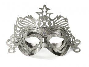 Party maska s ornamentami strieborná
