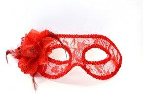 Čipkovaná maska s ružou červená