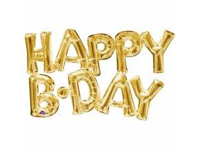 Fóliový balón HAPPY B DAY zlatý