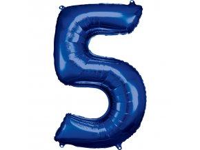 Balónik fóliový narodeninové číslo 5 modrý 86 cm