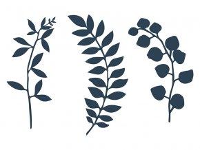 Dekorácia Vetvička s lístkami modrá