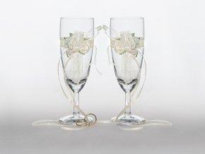Svadobné poháre s krémovou ružou