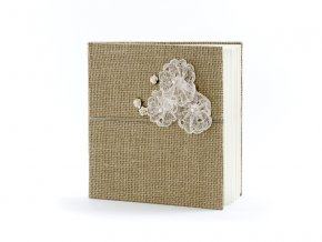 Kniha hostí v jutovej tkanine