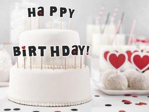 Ozdoby na tortu a cupcakes - Happy Birthday! 14 ks