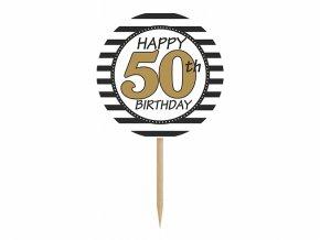 Ozdoby na cupcakes - 50. narodeniny 6 ks