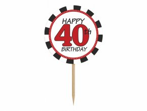 Ozdoby na cupcakes - 40. narodeniny 6 ks