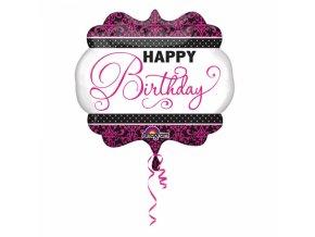 Fóliový balón Happy birthday čieno ružový