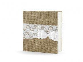 Kniha hosti v jutovej tkanine s maslou