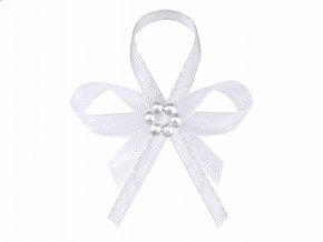 Svadobne pierko s perlami biele