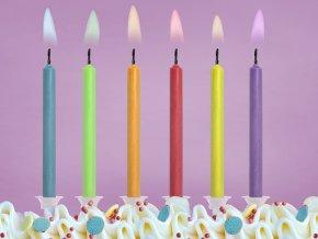 Narodeninové sviečky s farebnými plameňmi 6 ks