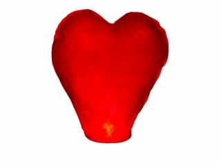 PartyDeco Lietajúci lampión priania srdce červené