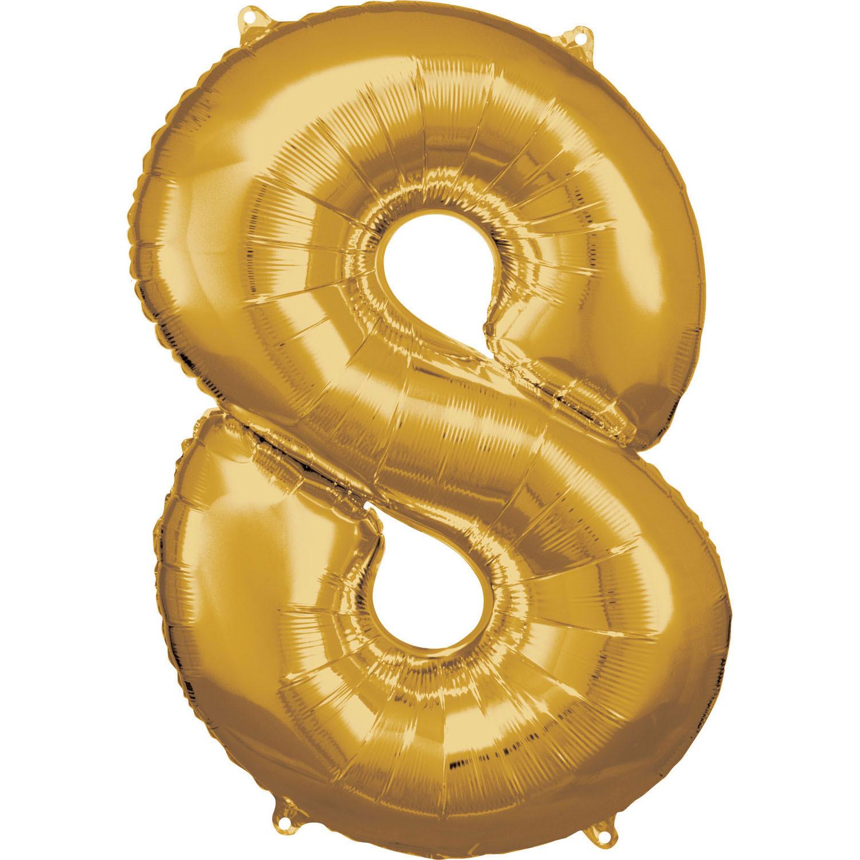Amscan Balónik fóliový narodeninové číslo 8 zlatý 86cm
